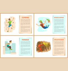 Climbing and bungee jumping parkour posters set vector