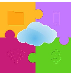 Cloud computing promo puzzle background vector image