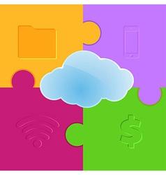 Cloud computing promo puzzle background vector