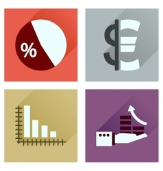 Concept flat icons with long shadow money vector