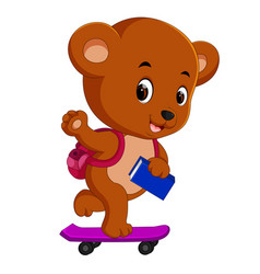 cute bear holding book and playing skateboard vector image