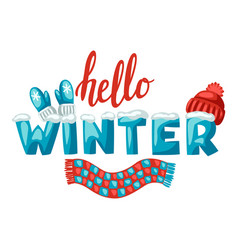 cute clothes mittens hat and scarf winter vector image