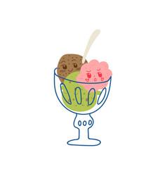 Cute delicious ice cream balls in glass bowl vector