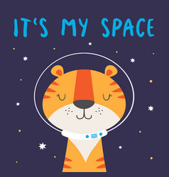 Cute tiger astronaut in space vector
