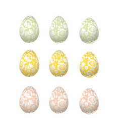 Easter egg luxury decoration floral elegant style vector