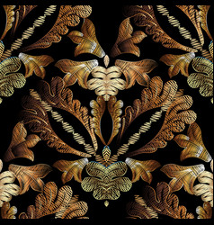 Embroidery baroque seamless pattern gold vector
