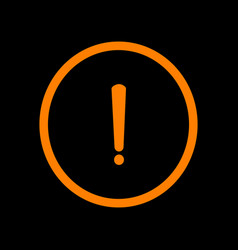 exclamation mark sign orange icon on black vector image