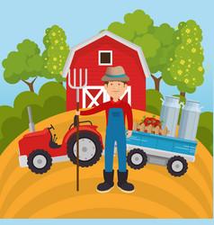 Farmer in the farm scene vector