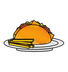 fast food taco french fries mexican menu vector image