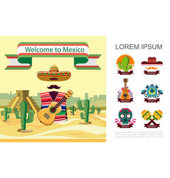 flat welcome to mexico colorful concept vector image