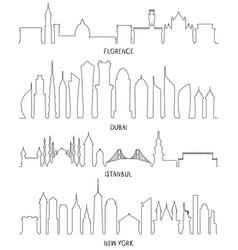 Florence dubai new york and istanbul lineart vector