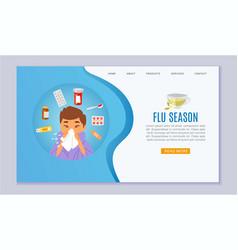Flu season and sick boy with handkerchief in hand vector