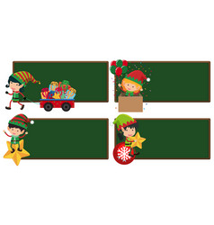 four board template with christmas eleves vector image