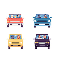 Front view cartoon cars with people inside vector