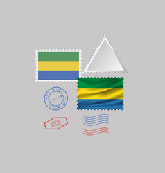 Gabon flag postage stamp set isolated on gray vector