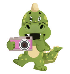 Green dragon is holding camera on white vector
