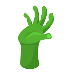 green zombie hand icon isometric style vector image