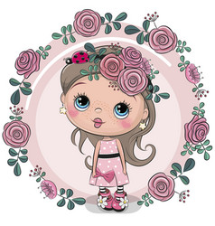 Greeting card girl with flowers on a pink vector