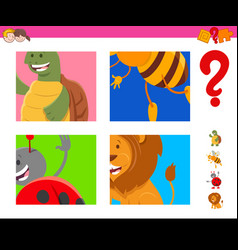 Guess cartoon animals task for children vector