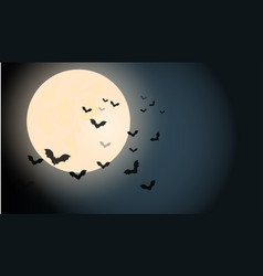 halloween dark night sky bats fly near an ominous vector image