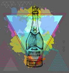 Hand drawing champagne bottle vector