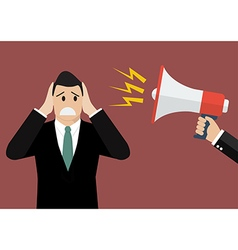 Hand hold megaphone screaming to businessmen vector