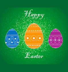 happy easter card with eggs grass flowers bokeh vector image