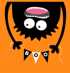 Happy halloween screaming monster head silhouette vector