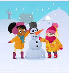 Happy kids playing with snowman funny little girs vector