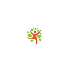 Happy man ecology green leaf logo vector