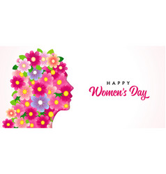 happy womens day flowers head and text vector image