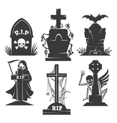 headstones death symbols vector image