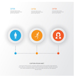 human icons set collection of running vector image