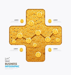 Infographic business currency money coins plus sha vector image