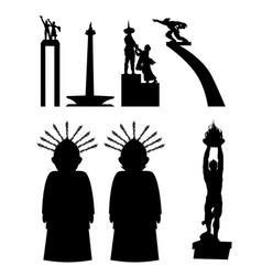 jakarta indonesia landmark in silhouette vector image
