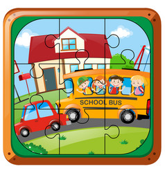 Jigsaw puzzle game with kids on bus vector