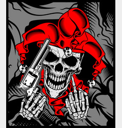 Jokers skull holds a gun hand drawing vector