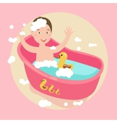 Kids happy play water in bath with rubber duck vector