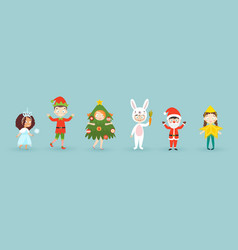 kids wearing christmas costumes funny and cute vector image