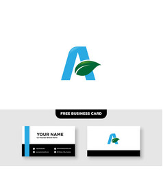 Letter a leaf logo design and business card vector