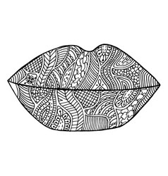 lips lipstick zen kiss tangle pattern vector image