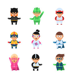 little superheroes hero comic cartoon 2d figures vector image