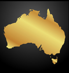 Map of australia gold on black background vector