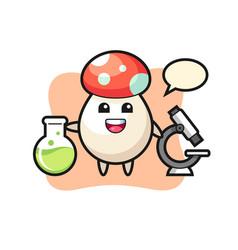 Mascot character mushroom as a scientist vector