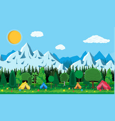 Meadow with grass and camping vector