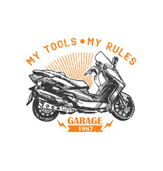 motorcycle sketch poster vector image