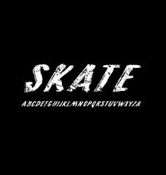 oblique handwritten brush font in grunge style vector image