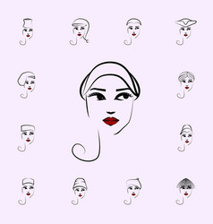 off face hat girl icon hat girl icons universal vector image