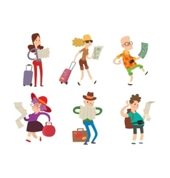 People with maps vector image
