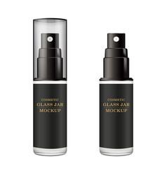 Realistic black bottle mock up cosmetic spray vector